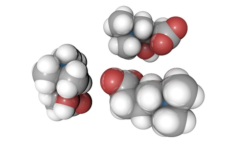 Molecular model of levocarnitine, L-carnitine. Atoms are represented as spheres with conventional color coding: hydrogen (white), carbon (grey), oxygen (red), nitrogen (blue). 3d illustration