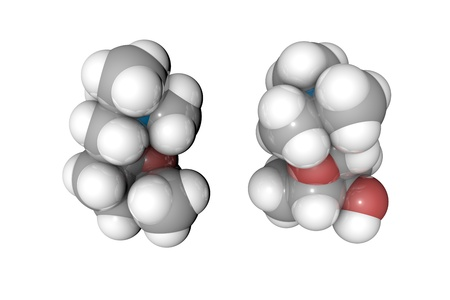 Molecular model of muscarine. Atoms are represented as spheres with conventional color coding: hydrogen (white), carbon (grey), oxygen (red), nitrogen (blue). Scientific background. 3d illustration