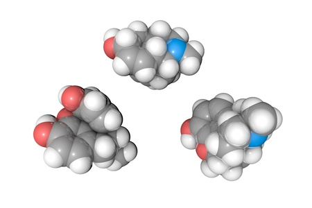 Molecular structure of morphine. Atoms are represented as spheres with conventional color coding: hydrogen (white), carbon (grey), oxygen (red), nitrogen (blue). 3d illustration Stock Photo