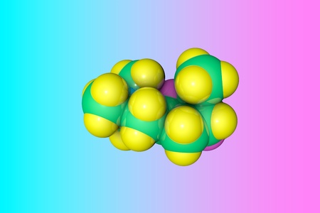Molecular model of muscarine. Muscarine is a mushroom toxin. Medical background. Scientific background. 3d illustration
