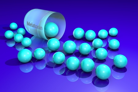 Opened melatonin capsule with light blue granules. Melatonin is a hormone that produces by pineal gland and regulates sleep and wakefulness. It uses for the treatment of insomnia. 3d illustration. Stock Photo