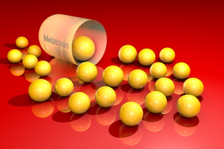Opened orange melatonin capsule with yellow granules. Melatonin is a hormone that produces by pineal gland and regulates sleep and wakefulness. It uses for the treatment of insomnia. 3d illustration.