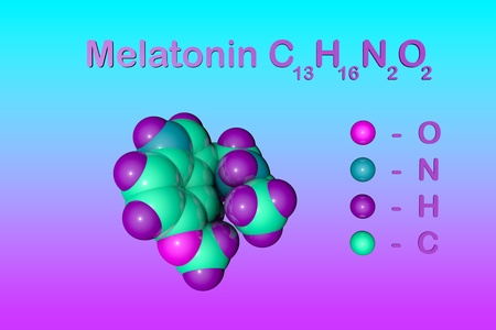 Structural chemical formula and molecular model of melatonin, a hormone that regulates sleep and wakefulness. Melatonin uses for the treatment of insomnia. Scientific background. 3d illustration Stock Photo