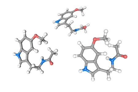 Molecular structure of melatonin. Atoms are represented as spheres with conventional color coding: hydrogen (white), carbon (grey), oxygen (red), nitrogen (blue). Medical background. 3d illustration