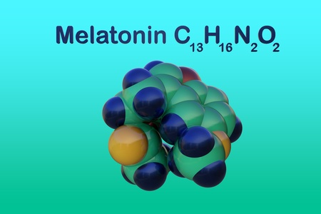 Structural chemical formula and molecular model of melatonin, a hormone that regulates sleep and wakefulness. Melatonin uses for the treatment of insomnia. Scientific background. 3d illustration Banco de Imagens