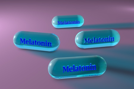 Melatonin capsules. Melatonin is a hormone that produces by pineal gland and regulates sleep and wakefulness. It uses for the treatment of insomnia. 3d illustration Banco de Imagens - 121143174