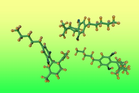 Molecular structure of cannabidiol (CBD), an active ingredient in cannabis derived from the hemp plant. Medical background. Scientific background. 3d illustration Stock Photo