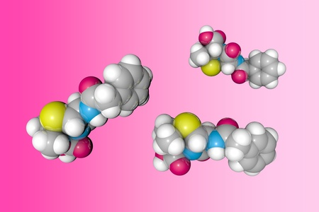 Molecular structure of penicillin. Atoms are represented as spheres with conventional color coding: sulfur (yellow), carbon (grey), oxygen (red), nitrogen (blue), hydrogen (white). 3d illustration Standard-Bild - 121143192