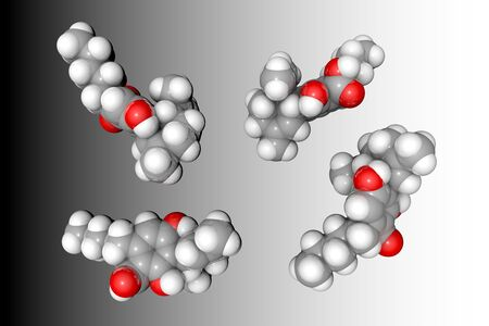 Molecular model of cannabidiolic acid (CBDA). Atoms are represented as spheres with conventional color coding: hydrogen (white), carbon (grey), oxygen (red). Medical background. 3d illustration Banque d'images - 131149782