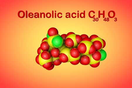 Structural chemical formula and molecular model of oleanolic acid, unsaturated organic acid. It has anti-cancer and antiviral effects. Scientific background. 3d illustration Banque d'images - 131150509