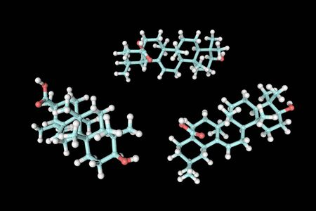 Molecular model of oleanolic acid. Atoms are represented as spheres with conventional color coding: hydrogen (white), carbon (light blue), oxygen (red). Medical background. 3d illustration Banque d'images - 131150511
