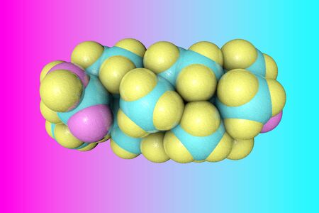 Molecular model of oleanolic acid or oleanic acid, one of the most famous antioxidant. It has anti-cancer and antiviral effects. Medical background. 3d illustration