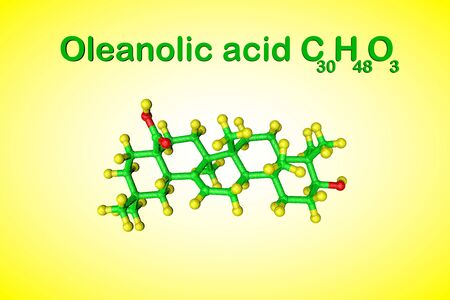 Structural chemical formula and molecular model of oleanolic acid, unsaturated organic acid. It has anti-cancer and antiviral effects. Medical background. Scientific background. 3d illustration Banco de Imagens