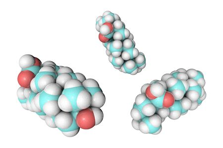 Molecular model of oleanolic acid. Atoms are represented as spheres with conventional color coding: hydrogen (white), carbon (light blue), oxygen (red). Medical background. 3d illustration Banco de Imagens