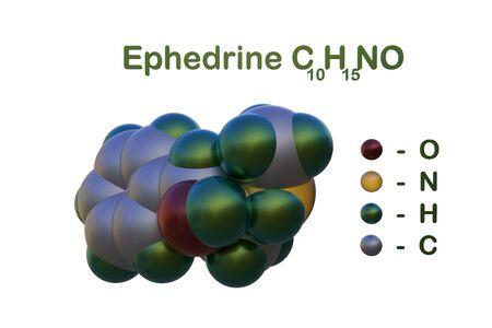 Structural chemical formula and molecular model of ephedrine. Ephedrine is used as decongestant, stimulant and appetite suppressant. Medical background. 3d illustration