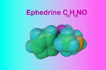 Structural chemical formula and molecular model of ephedrine. Ephedrine is used as decongestant, stimulant and appetite suppressant. Medical background. Scientific background. 3d illustration