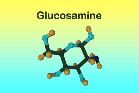 Molecular structure of glucosamine. Glucosamine is used as a treatment for osteoarthritis. Medical background. Scientific background. 3d illustration Banco de Imagens