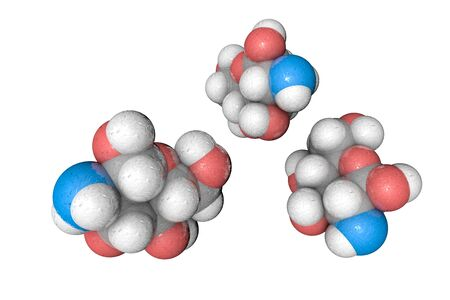 Molecular structure of glucosamine. Atoms are represented as spheres with conventional color coding: hydrogen (white), carbon (grey), oxygen (red), nitrogen (light blue). 3d illustration