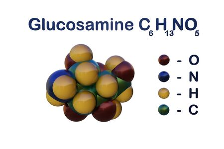 Structural chemical formula and molecular model of glucosamine. Glucosamine is used as a treatment for osteoarthitis. Medical background. Scientific background. 3d illustration Banco de Imagens