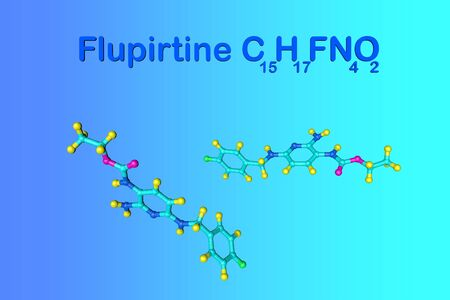 Structural chemical formula and molecular model of flupirtine. Flupirtine is used to treat acute and chronic pain. Medical background. Scientific background. 3d illustration Фото со стока