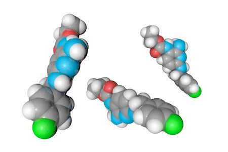 Flupirtine molecule. Atoms are represented as spheres with color coding: hydrogen (white), carbon (grey), oxygen (red), nitrogen (light blue), fluorine (green). Medical background. 3d illustration