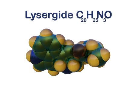 Structural chemical formula and space-filling molecular model of lysergide (LSD), a semi-synthetic potent hallucinogen. Scientific background. 3d illustration