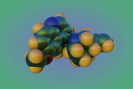 Space-filling molecular model of quinine. It is a medication used to treat malaria and babesiosis. Medical background. 3d illustration Stock Photo