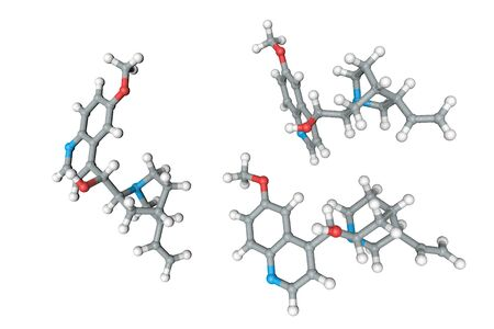 Molecular structure of quinine. Atoms are represented as spheres with conventional color coding: carbon (grey), oxygen (red), nitrogen (light blue), hydrogen (white). 3d illustration Stock Photo