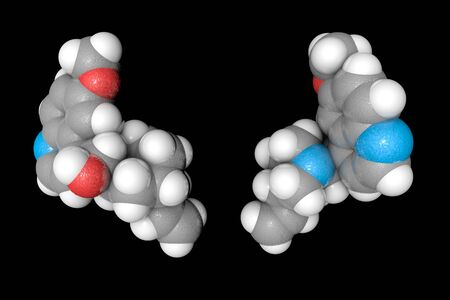 Space-filling molecular model of quinine. Atoms are represented as spheres with conventional color coding: carbon (grey), oxygen (red), nitrogen (light blue), hydrogen (white). 3d illustration Stock Photo