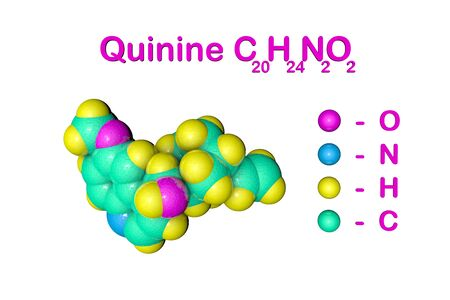 Structural chemical formula and space-filling molecular model of quinine. It is a medication used to treat malaria and babesiosis. Scientific background. 3d illustration Stock Photo