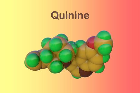 Space-filling molecular model of quinine. It is a medication used to treat malaria and babesiosis. Medical background. Scientific background. 3d illustration