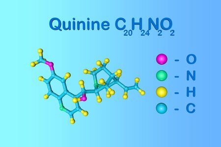 Structural chemical formula and molecular model of quinine. It is a medication used to treat malaria and babesiosis. Scientific background. 3d illustration