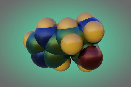 Molecular structure of d-histidine, an optically active form of histidine havind D-configuration. It is used in the biosynthesis of proteins. Medical background. Scientific background. 3d illustration
