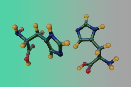Molecular structure of d-histidine, an optically active form of histidine havind D-configuration. It is used in the biosynthesis of proteins. Scientific background. 3d illustration