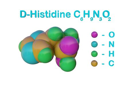 Structural chemical formula and molecular model of d-histidine, an optically active form of histidine havind D-configuration. Scientific background. 3d illustration Banque d'images - 131150599