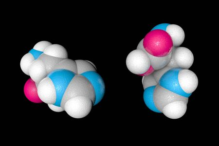 Space-filling molecular model of l-histidine. Atoms are represented as spheres with conventional color coding: carbon (grey), oxygen (red), nitrogen (blue), hydrogen (white). 3d illustration Banque d'images - 131150602