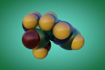 Molecular structure of l-histidine or histidine, an essential amino acid in human. It is used in the biosynthesis of proteins. Scientific background. 3d illustration
