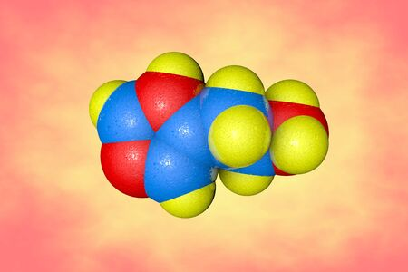 Space-filling molecular model of histamine. It is an organic nitrogenous compound involved in local immune responses and acting as a neurotransmitter. Scientific background. 3d illustration