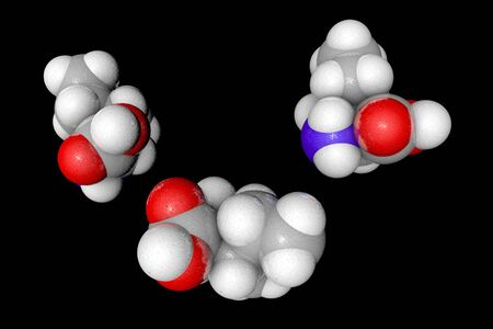 Space-filling molecular model of l-isoleucine. Atoms are represented as spheres with conventional color coding: carbon (grey), oxygen (red), nitrogen (blue), hydrogen (white). 3d illustration Banco de Imagens