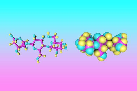Molecular model of dextrin or maltodextrin, a polysaccharide that is used as a food additive.