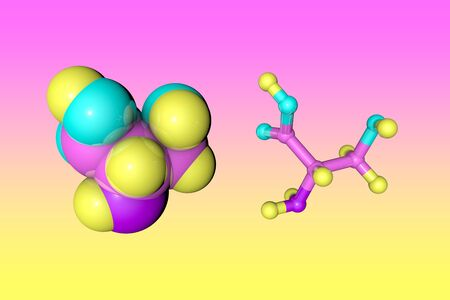 Molecular structure of l-serine, the nonessential amino acid present on spider silk proteins. Medical background. Scientific background. 3d illustration