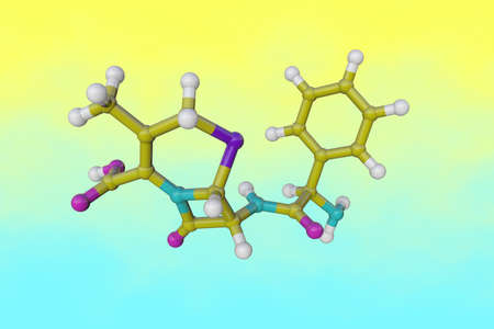 Molecular structure of cephalexin that used to treat certain infections caused by bacteria such as pneumonia, infections of the bone, skin, ears, genital and urinary tract infections. 3d illustration