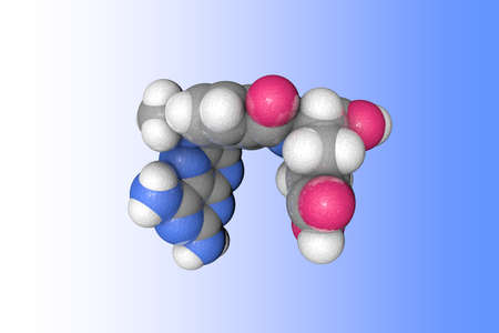 Molecular structure of methotrexate. Atoms are represented as spheres with color coding: carbon (grey), oxygen (red), nitrogen (blue), hydrogen (white). Scientific background. 3d illustration Banque d'images