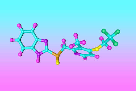 Molecular structure of lansoprazole, a medication used to reduce gastric acid secretion and approved for treatment of active gastric ulcers and duodenal ulcers. Scientific background. 3d illustration Imagens