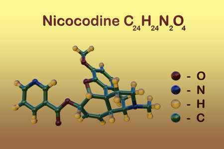 Structural chemical formula and molecular model of nicocodine or nicocodeine, an opioid analgesic and cough suppressant related to codeine. Scientific background. 3d illustration Imagens