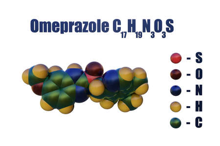 Structural chemical formula and space-filling molecular model of omeprazole, a medication that used to treat gastric acid-related disorders and peptic ulcer. Scientific background. 3d illustration