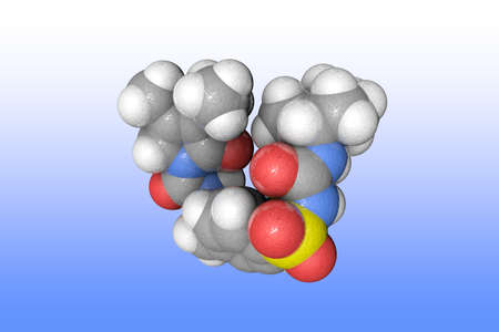 Molecular structure of glimepiride. Atoms are represented as spheres with color coding: carbon (grey), oxygen (red), nitrogen (blue), hydrogen (white), sulfur (yellow). 3d illustration Imagens