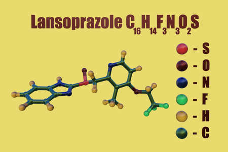 Structural chemical formula and molecular model of lansoprazole, a medication used to reduce gastric acid secretion and approved for treatment of gastric ulcers and duodenal ulcers. 3d illustration Imagens
