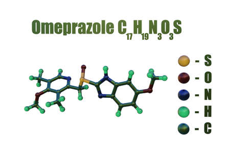 Structural chemical formula and molecular model of omeprazole, a medication that used to reduce gastric acid secretion and approved for treatment of active gastric and duodenal ulcers. 3d illustration