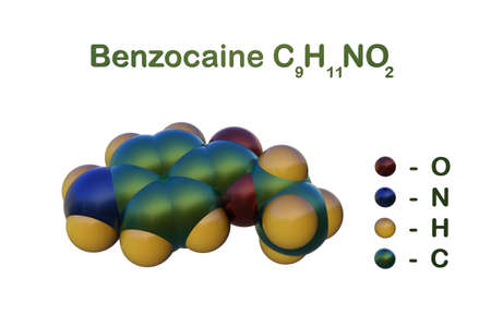 Structural chemical formula and space-filling molecular model of benzocaine that used to reduce pain or discomfort causes by minor skin irritations, sore throat, sunburn, hemorrhoids. 3d illustration